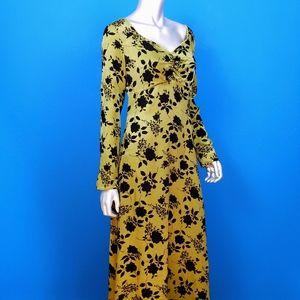 GLAMOROUS Flocked Velvet Metallic Maxi Dress / NWT